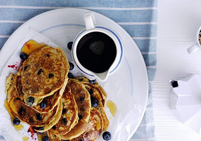 Blueberry and yogurt American style pancakes (gluten free)