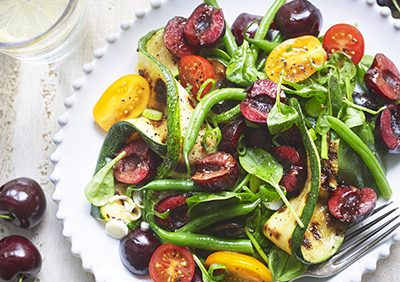 Griddled Courgette, Spinach & Cherries with Fresh Thyme Dressing