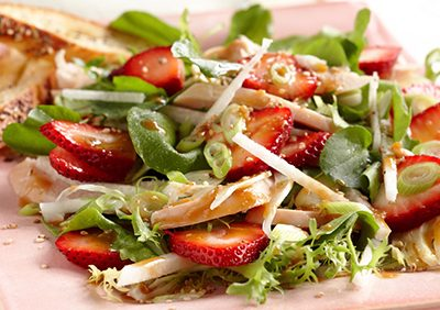 Strawberry Chicken Salad with Hoisin Sesame Dressing