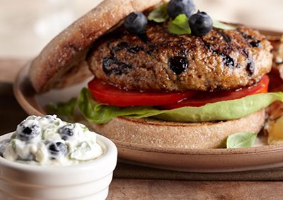 Blueberry Turkey Burgers with a Lemon Basil Mayonnaise